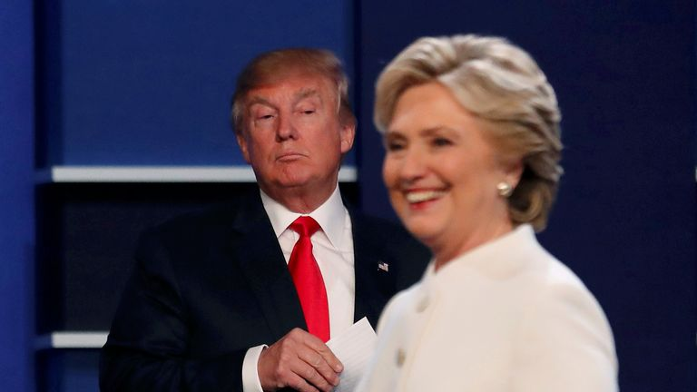 Donald Trump and Hillary Clinton at the end of their third and final debate