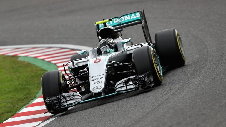 Germany's Nico Rosberg drives the driving Mercedes AMG Petronas Turbo during the final practice for the Formula One Grand Prix of Japan