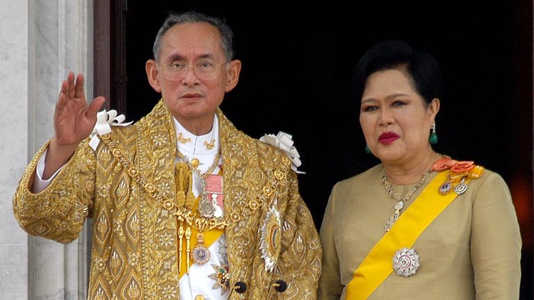 King Bhumibol Adulyadej and Queen Sirikit on the 60th anniversary of the king's coronation in Bangkok on 9 June, 2006
