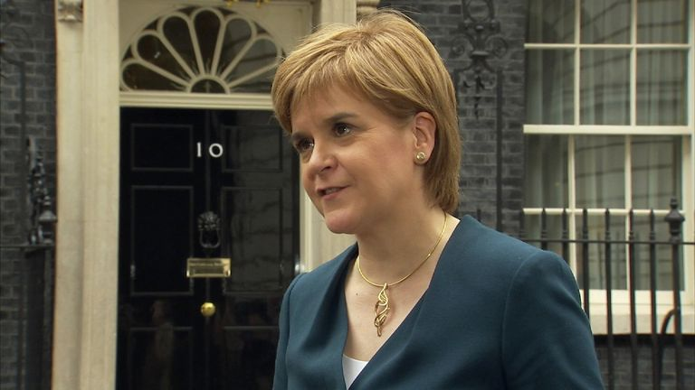 "Nicola Sturgeon after a ""frank exchange of views"" in Downing Street"