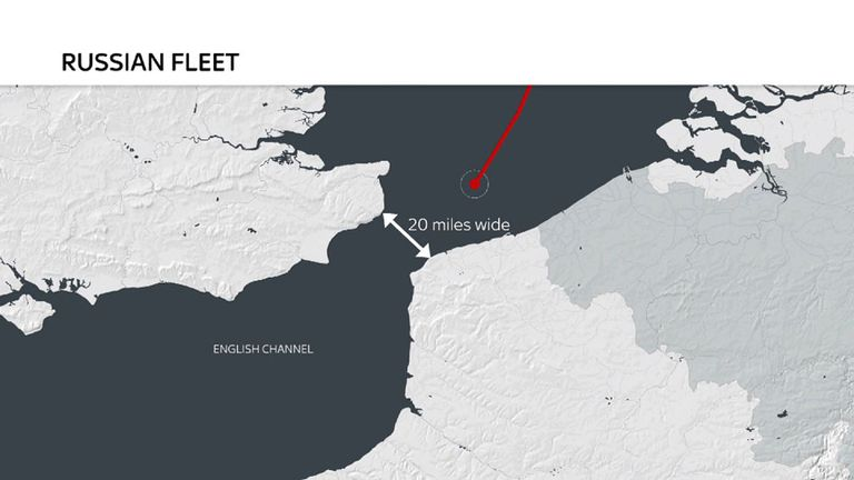 A graphic showing the route of a flotilla of Russian warships is taking through the English Channel