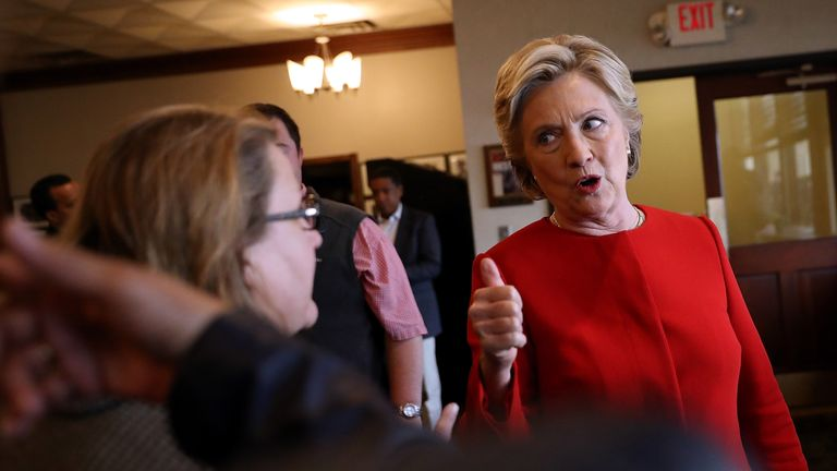 CLEVELAND, OH - OCTOBER 31:  Democratic presidential nominee Clinton greets patrons in Ohio