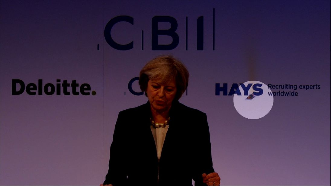 A moth interrupts Theresa May's CBI speech