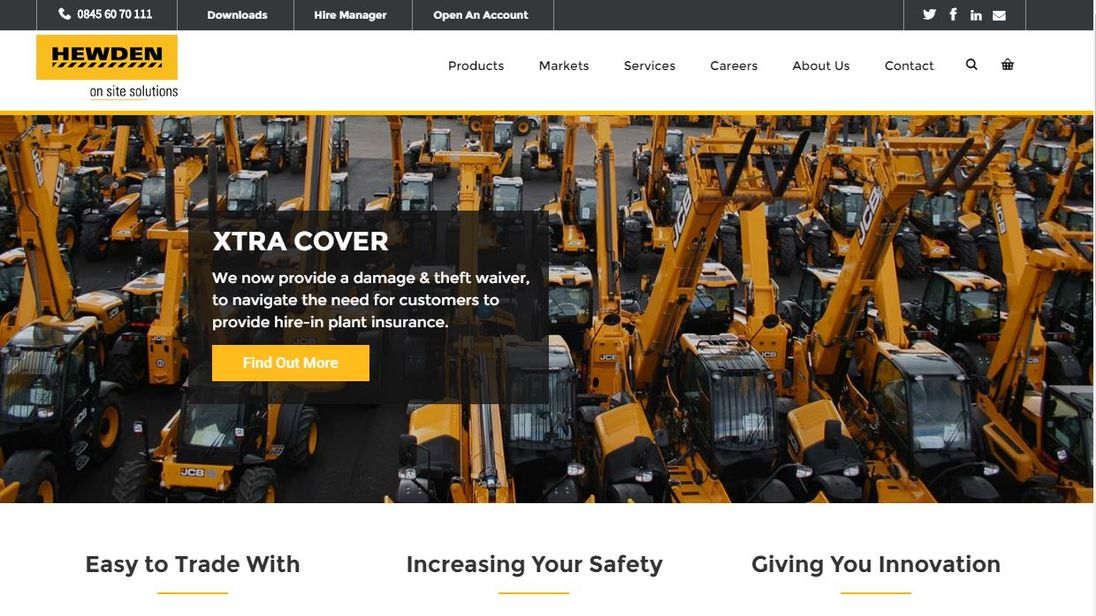 Hewden, the building site equipment company's website