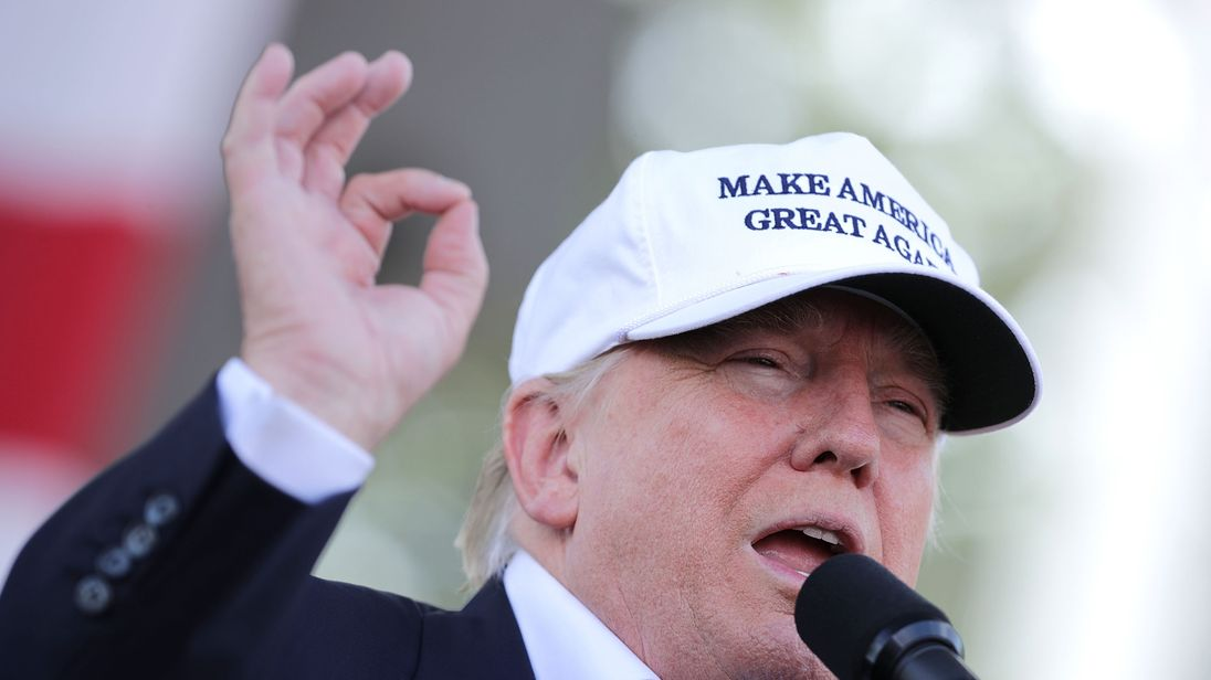 Donald Trump in Miami, Florida, campaigning ahead of the US presidential election