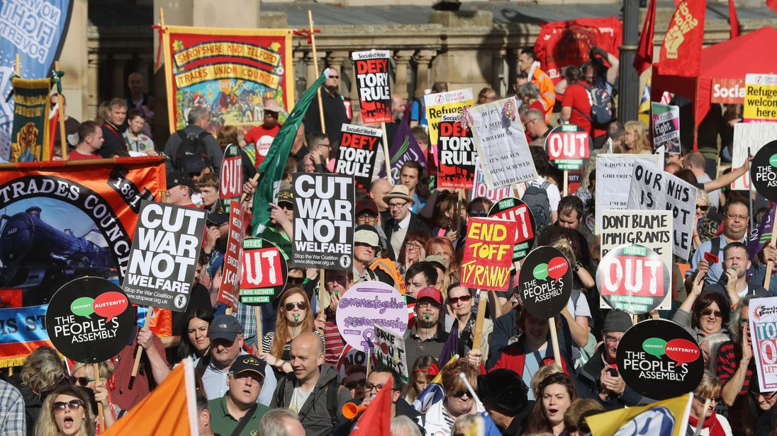 Anti-austerity protests outside September's Conservative Party conference