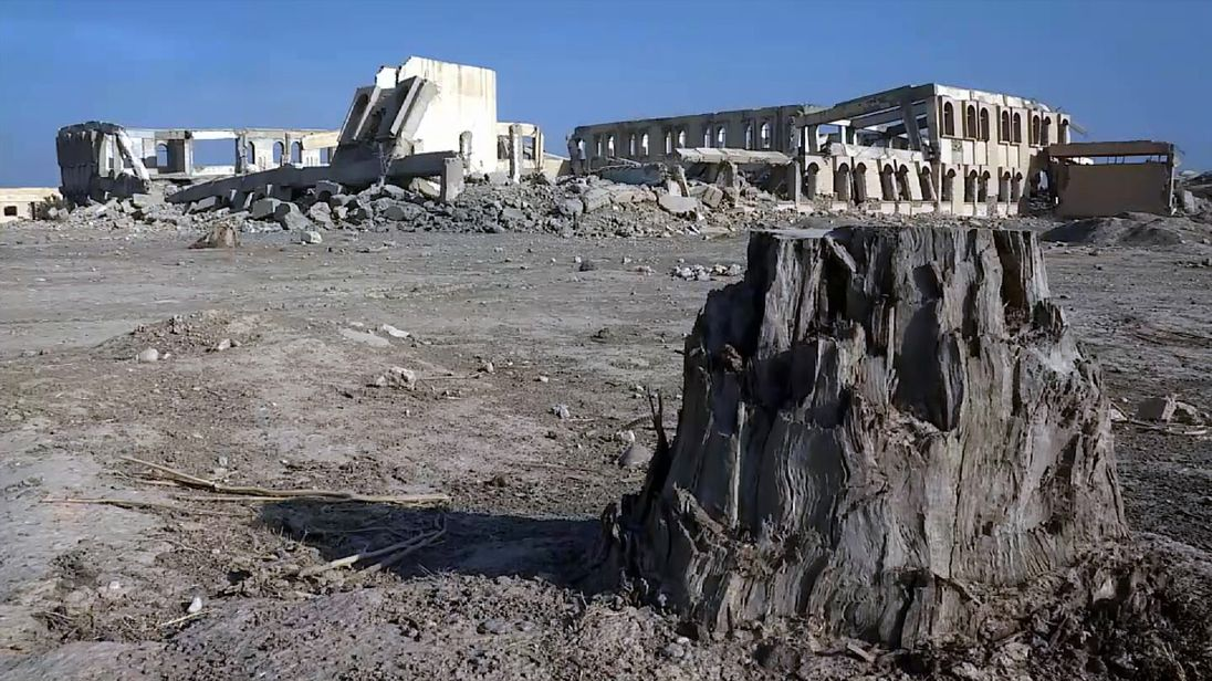 The remains of a college on the edge of Hammam al Alil near Mosul