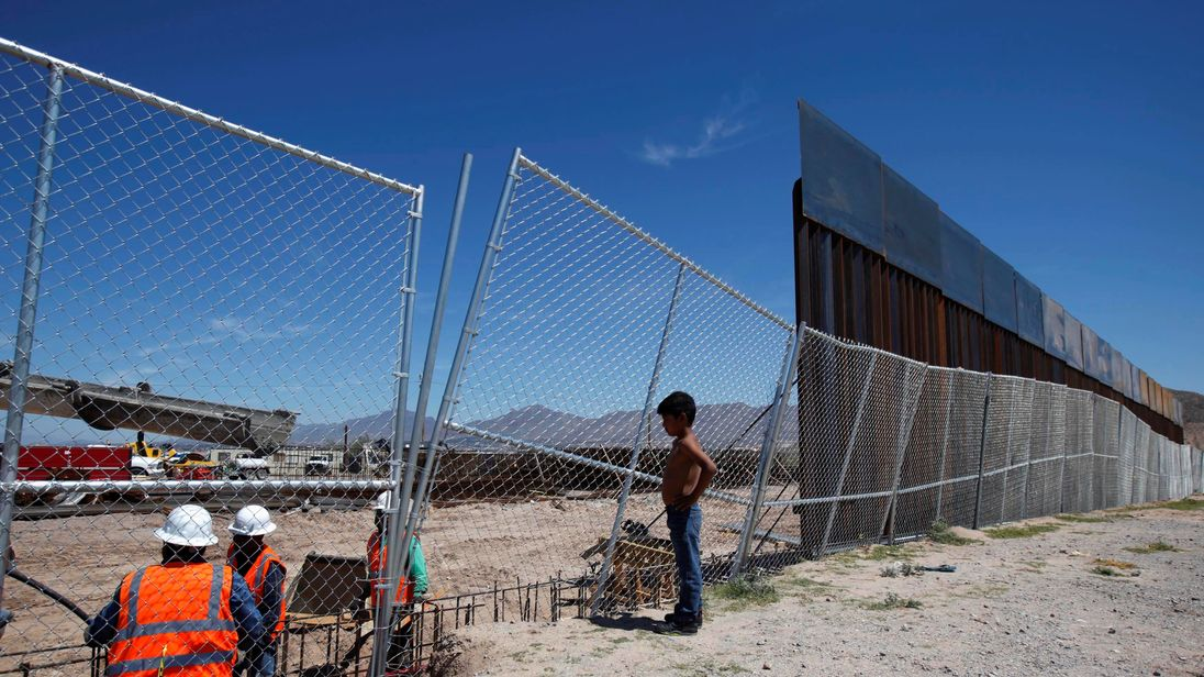 The U.S.-Mexico border now. The structures, fences and walls that mark the border between the United States and Mexico