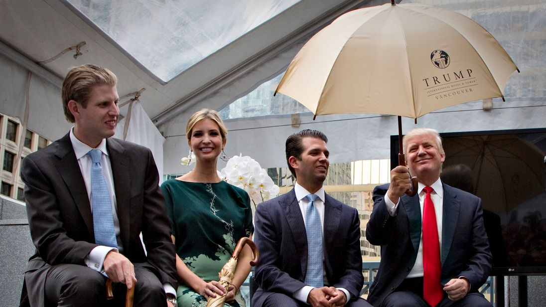 Family business: The Donald and his children Eric (L), Ivanka and Donald Jr in Vancouver in 2013