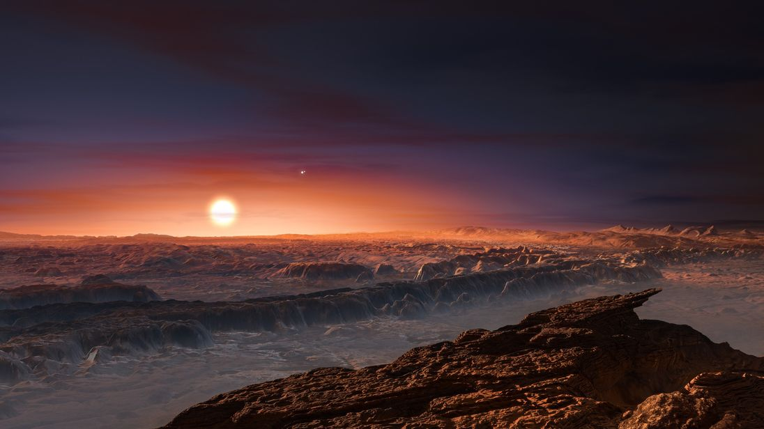 An artist's impression of the surface of Proxima b