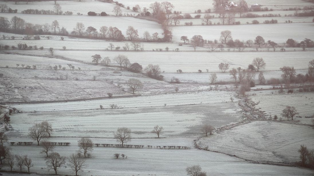 Frost covers a valley the Peak District