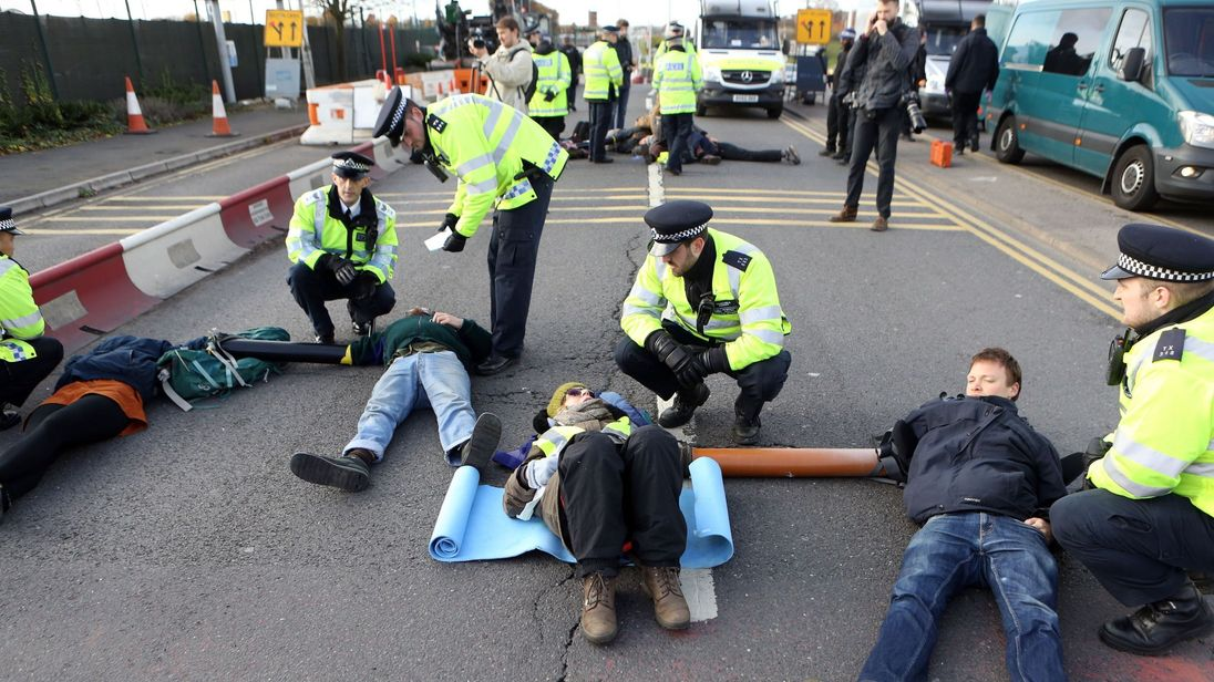Heathrow protesters arrested after blocking road