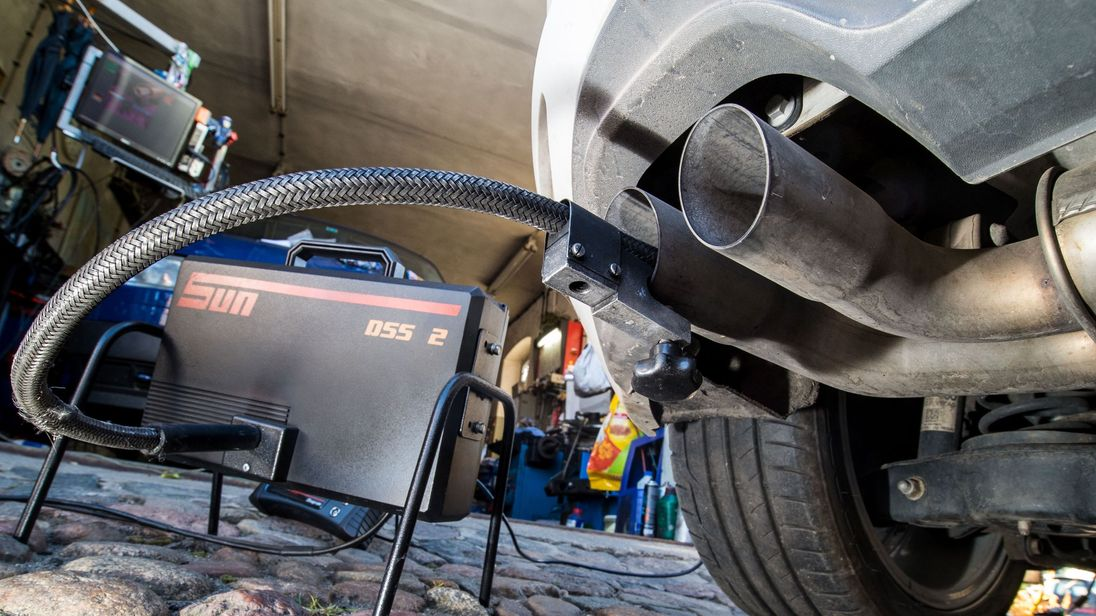 Emissions test on a VW