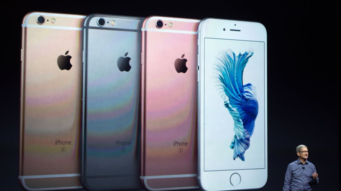 Apple CEO Tim Cook introduces the iPhone 6s during an Apple media event in San Francisco, California on September 9, 2015