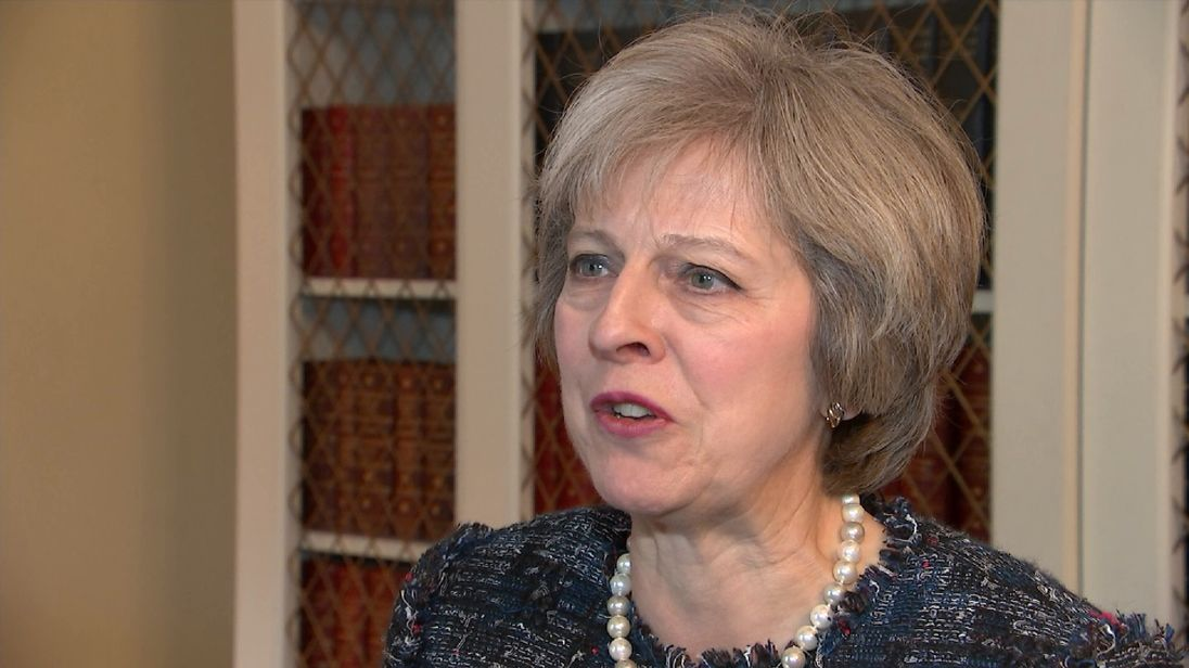 Theresa May congratulates Donald Trump on becoming President-elect in a statement on camera