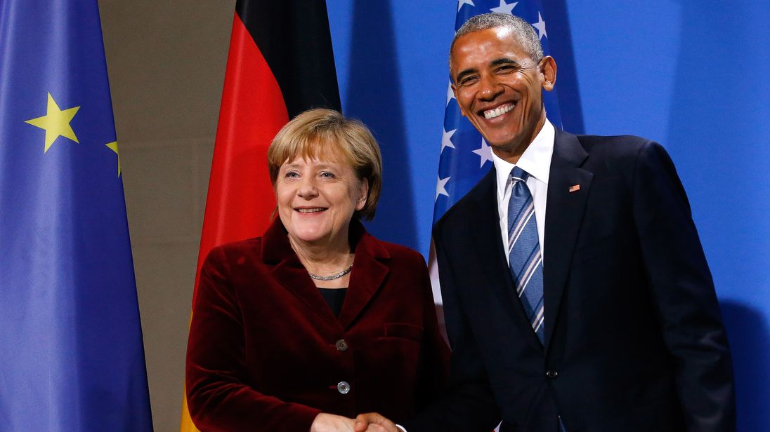 US President Barack Obama shakes hands with German Chancellor Angela Merkel following their a joint news conference in Berlin, Germany, November 17, 2016