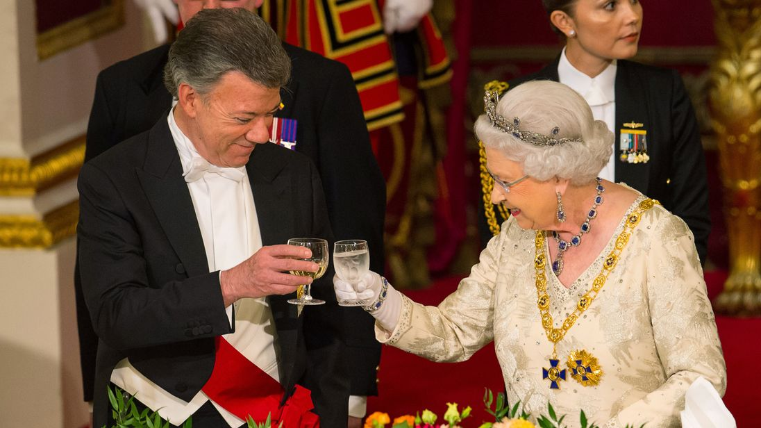 A state banquet was held for Juan Manuel Santos at Buckingham Palace