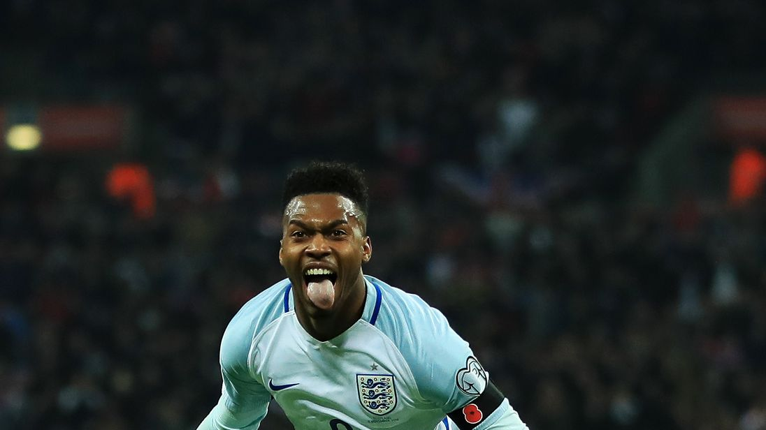 Daniel Sturridge of England (9) celebrates as he scores their first goal during the FIFA 2018 World Cup qualifying match v Scotland