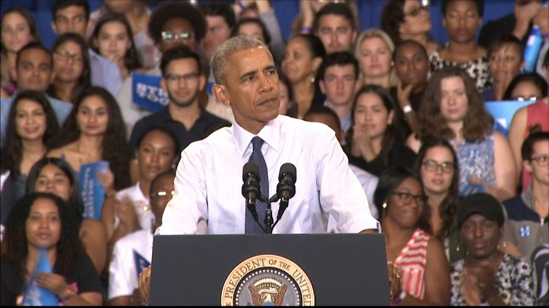 President Obama lashes out at Donald Trump in rally speech