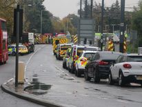 Emergency vehicles at the scene at Sandilands tram stop in Croydon