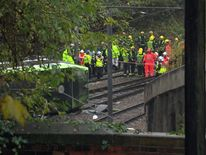 Emergency services the scene of the tram derailment