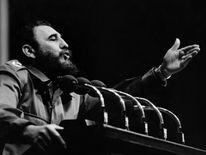 Fidel Castro addresses crowd in the 1970s in Havana.
