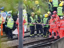 The scene after a tram overturned in Croydon