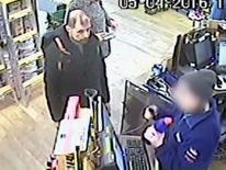A CCTV image of Stefano Brizzi buying items at a shop in Southwark Street, London
