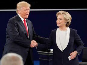 Donald Trump and Hillary Clinton shake hands