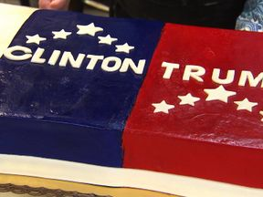 The Clinton/Trump cake commissioned by Sky News - before it was offered to residents in Florida
