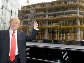 Donald Trump poses in front of one his hotels in Chicago in 2006