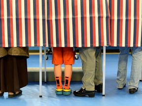 CONCORD, NH - NOVEMBER 08: Voters fill out their ballots at the Green Street Community Center on November 8, 2016 in Concord, New Hampshire. After a contentious campaign season, Americans go to the polls today to choose the next president of the United States. (Photo by Darren McCollester/Getty Images)
