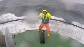 Sky's Joe Tioday braves the elements in the North Sea