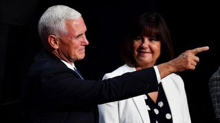 Mike and Karen Pence pictured during the campaign