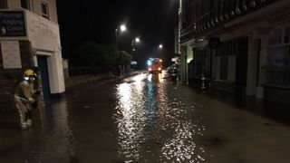 Part of Swanage High Street was flooded overnight