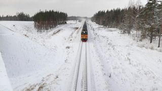 Train rolls along border with Latvia and Russia.