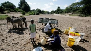 Villagers collect water from a dry river bed in Masvingo, Zimbabwe in June