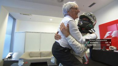 Bernie bear-hugged by Nico