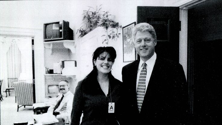 White House intern Monica Lewinsky meeting President Bill Clinton at the White House in 1998
