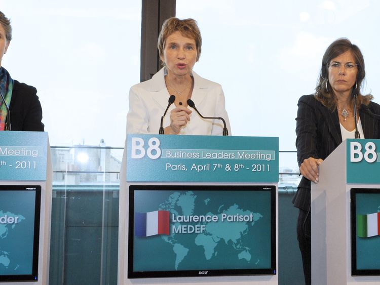 (From LtoR) British president of the CBI (confederation of British Industry) Helen Alexander, French Business confederation Medef head Laurence Parisot and Italian president of Confindustria, Emma Marcegaglia, take part in a press conference during the B8 Business Leaders Meeting on April 8, 2011 in Paris. AFP PHOTO BERTRAND GUAY (Photo credit should read BERTRAND GUAY/AFP/Getty Images)