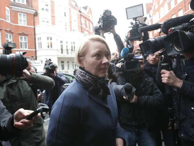 Swedish prosecutor Ingrid Isgren arrives at Eduador's embassy in London