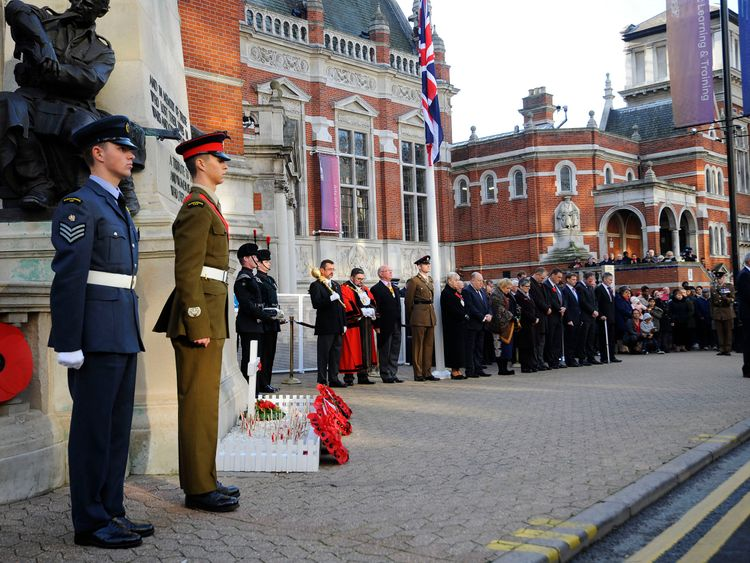 Crash victims were remembered during an Armistice Day commemoration in Croydon