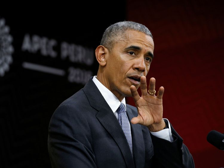 Barack Obama holds a press conference at the conclusion of the APEC Summit in Lima, Peru