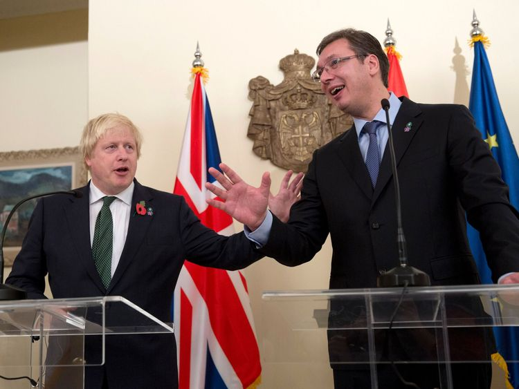Boris Johnson and Serbian PM Aleksandar Vucic