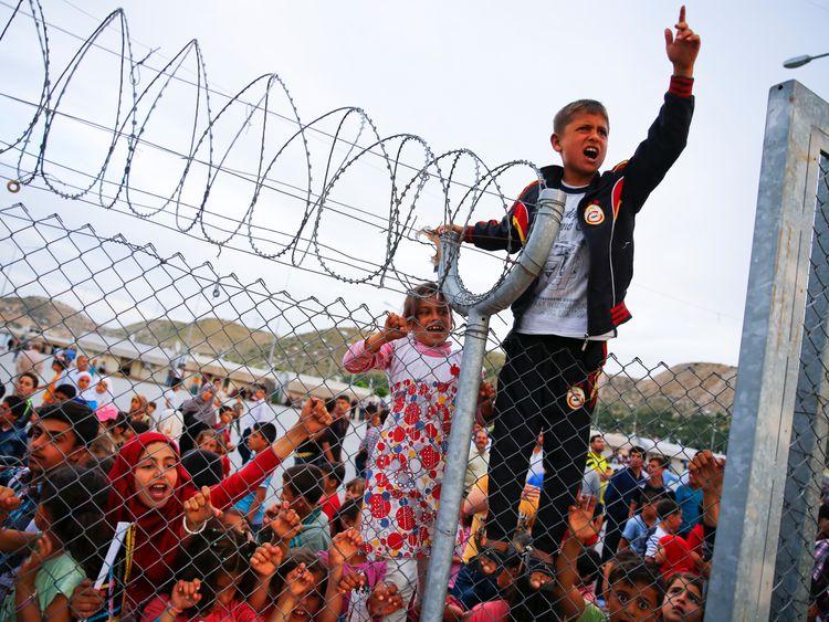 Refugee youths at Nizip refugee camp near Gaziantep, Turkey