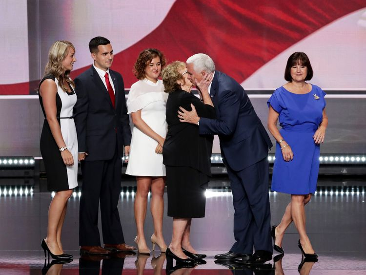 Mike Pence with mother Nancy, daughters Audrey (L) and Charlotte (C), son Michael, and wife Karen (R)  at the Republican convention in July