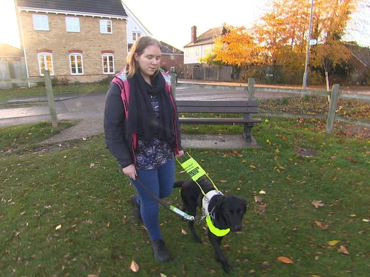 Rosemary relies heavily on her guide dog, Una