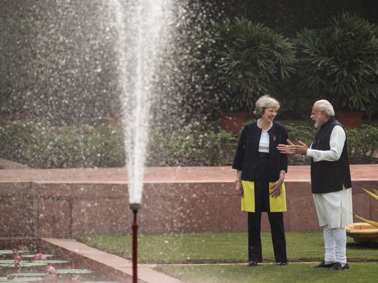 Theresa May with Narenda Modi during her three-day visit to India
