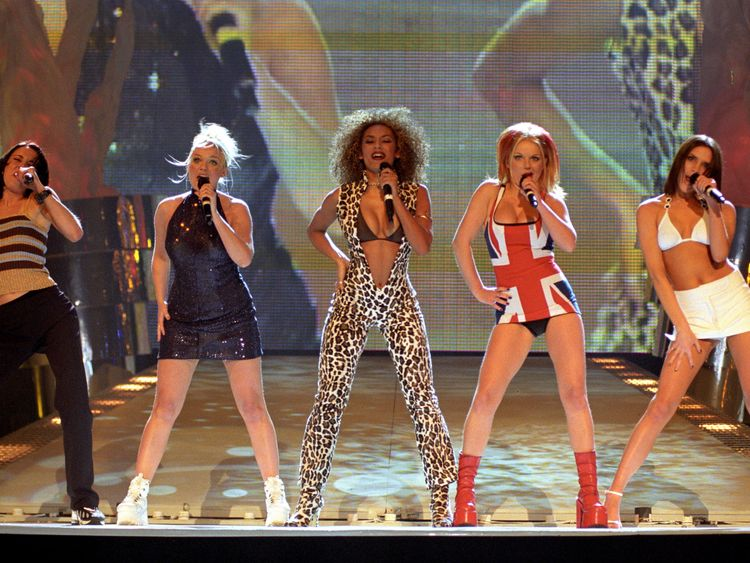 The Spice Girls perform on stage at the 2000 Brit Awards ceremony in London