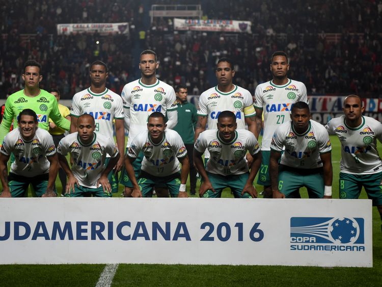 The  Chapecoense team pictured earlier this month